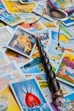 Tarot cards with a magic ball and magic wand. Royalty Free Stock Image