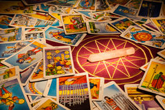 Tarot cards with a magic crystal. stock image