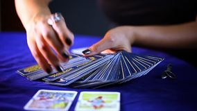 Tarot Cards. Mystic Game tells Future, A fortune Teller Looks Your Destiny stock video footage