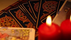 Tarot Cards. Mystic Game tells Future, A fortune Teller Looks Your Destiny stock video