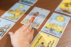 Tarot cards mystical stock photo
