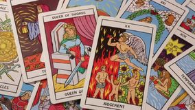 Tarot Cards - The Occult - Witchcraft. Tarot Cards - From the late 18th century the tarot has been used by mystics and occultists in divination or as a map of stock video