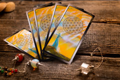Tarot cards and other accessories Royalty Free Stock Image