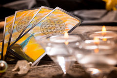 Tarot cards and other accessories Royalty Free Stock Photography