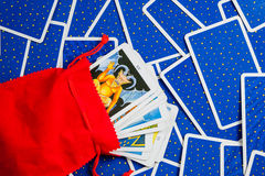 Tarot cards placed on a blue card. Royalty Free Stock Photography