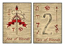 The tarot cards in red. Ace and two of wands vector illustration