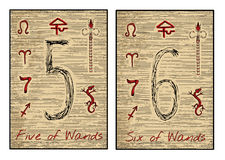 The tarot cards in red. Five and six of wands. Five and six of wands in red. The minor arcana tarot card, vintage hand drawn engraved illustration with mystic stock illustration
