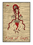 The tarot cards in red. King of cups. King of cups in red. The minor arcana tarot card, vintage hand drawn engraved illustration with mystic symbols. Handsome Royalty Free Stock Photo
