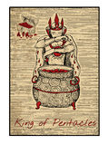 The tarot cards in red. King of pentacles Royalty Free Stock Photos