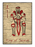 The tarot cards in red. King of swords Stock Photography