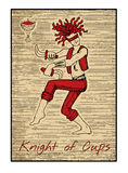 The tarot cards in red. Knight of cups. Knight of cups in red. The minor arcana tarot card, vintage hand drawn engraved illustration with mystic symbols. Warrior Royalty Free Stock Image
