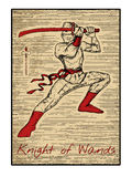 The tarot cards in red. Knight of wands Stock Photography