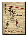 The tarot cards in red. Page of swords Stock Images