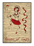 The tarot cards in red. Queen of cups Royalty Free Stock Photos