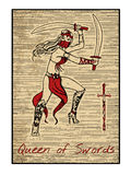 The tarot cards in red. Queen of swords Royalty Free Stock Image