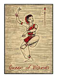 The tarot cards in red. Queen of wands. Queen of wands in red.  The minor arcana tarot card, vintage hand drawn engraved illustration with mystic symbols Royalty Free Stock Photos