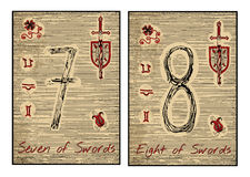The tarot cards in red. Seven and eight of swords Stock Photography