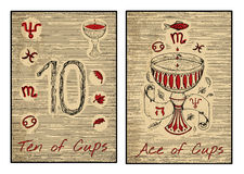 The tarot cards in red. Ten and ace of cups. Ten and ace of cups in red. The minor arcana tarot card, vintage hand drawn engraved illustration with mystic Stock Photo
