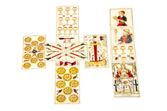Tarot Cards Set Out in the Celtic Cross Spread Royalty Free Stock Photography