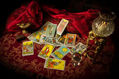 Tarot Cards Spread and scattered on Table Haphazardly Stock Photos