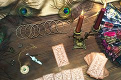 Tarot cards. Tarot cards on wooden table. Fortune teller royalty free stock images