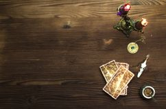 Tarot cards. Tarot cards on wooden table. Fortune teller table stock photos