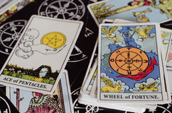 The Tarot Cards - The Wheel of Fortune and Other Good Meaning Cards. The Tarot Cards is a one of astrology and it's a popular one arroud the world Stock Images