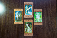 Tarot cards on the wood. Labirinth tarot deck. Esoteric background. Royalty Free Stock Images