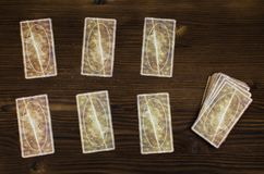Tarot cards. Tarot cards on wooden table. Fortune teller table Royalty Free Stock Images