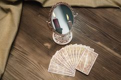 Tarot cards. Fortune-teller. Tarot cards on wooden table. Fortune teller. Future reading concept. Foreteller Royalty Free Stock Photo