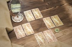 Tarot cards. Fortune-teller. Tarot cards on wooden table. Fortune teller. Future reading concept. Foreteller royalty free stock image