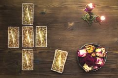 Tarot cards. Tarot cards on wooden table. Fortune teller table royalty free stock photo