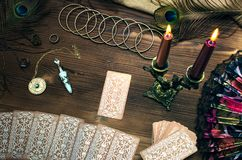 Tarot cards. Tarot cards on wooden table. Fortune teller stock image