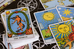 The Tarot Cards - The World Card and Other Good Meaning Cards. Stock Photo