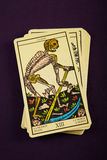 Tarot Death. Tarot card Death on purple background royalty free stock photography