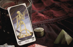 Tarot death card. Tarot card on a magic table close up stock images
