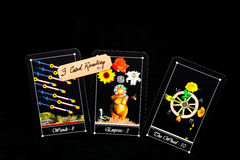 Tarot Deck - Tarot 3 Card Readings. Tarot - 3 Card readings with deck of Tarot cards Royalty Free Stock Image