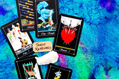 Tarot Deck - Tarot Readings on multi colored silk reading cloth Stock Image