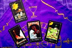 Tarot Deck - Tarot Readings with purple silk reading cloth Stock Photos
