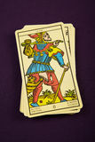 Tarot The Fool. Tarot card The Fool on purple background Stock Photos