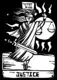 Tarot Karten-Gerechtigkeit Stockfotos