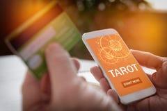 Tarot pomyślność mówi podaniową i kredytową kartę Obraz Stock