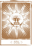 The Tarot Sun. A tarot card with the Sun symbol. Or just astrological, occult sun symbol or.. Sol Invictus Royalty Free Stock Photos