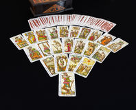 22 Tarots and Casket. The game of tarot cards with all of its 22 major arcana Stock Image