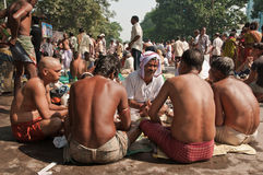 Tarpan prayer by the Ganges Stock Photo