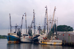 Tarpon Springs Fishing Trawlers. These four ships are part of the fleet that shelters on the Anclote River and the heads out into the Gulf of Mexico to fish Royalty Free Stock Photography
