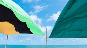 Tarps on Beach Royalty Free Stock Photography