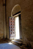 Tarquinia Entrance door of the church of saint maria in the castle. Tarquinia viterbo italy Entrance door of the church of saint maria in the castle The town of royalty free stock image