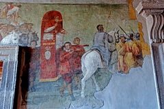 Tarquinia Fresco room. Tarquinia viterbo italy Tarquinia Fresco room The town of Tarquinia, the center of Southern Etruria, an Etruscan capital, a medieval town royalty free stock image