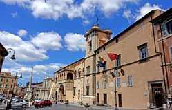 Tarquinia municipal building. Tarquinia viterbo italy Tarquinia municipal building The town of Tarquinia, the center of Southern Etruria, an Etruscan capital, a royalty free stock photos